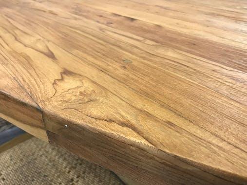 Table de repas ovale en bois pied central en metal
