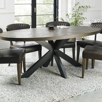 Table à manger ovale en marqueterie de chêne 200 cm ARLINGTON