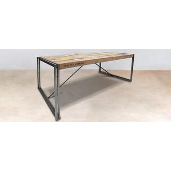 Table de repas rectangulaire en bois recycle de style industriel