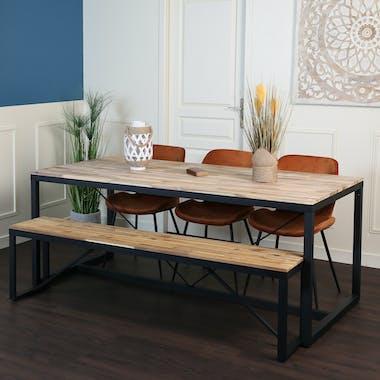 Table de repas rectangulaire en bois pieds metal style contemporain