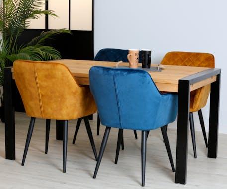 Table de repas rectangulaire en bois pieds metal style industriel