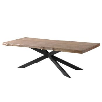 Table a manger bois teck massif pied central metal croise style contemporain