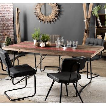 Table de repas bois recyle et metal de style campagne