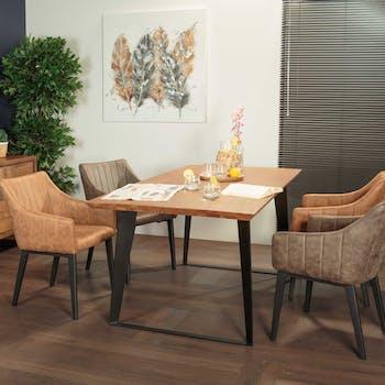 Table de repas en bois massif pieds metal style contemporain