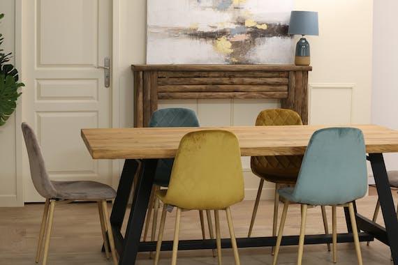 Table a manger bois et metal plateau rectangle chene style contemporain