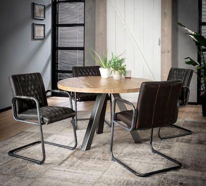 Table de repas ronde en bois pieds metal style contemporain