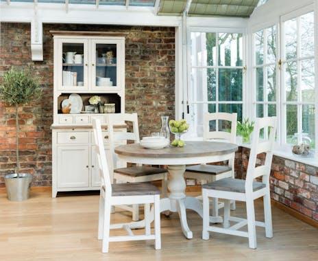 Table de repas ronde bois recycle FSC blanc