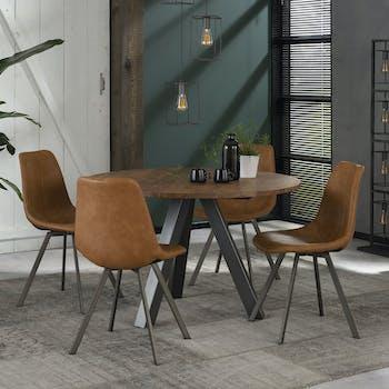 Table de repas ronde bois pieds metal style contemporain