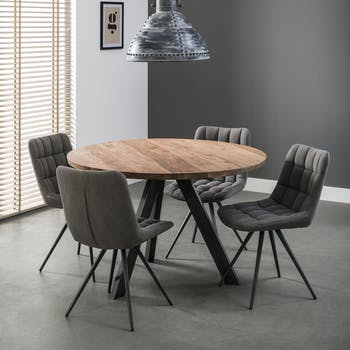 Table de repas ronde bois massif pied metal style contemporain