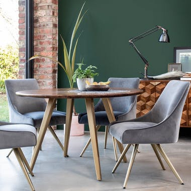 Table de repas ronde bois manguier style contemporain