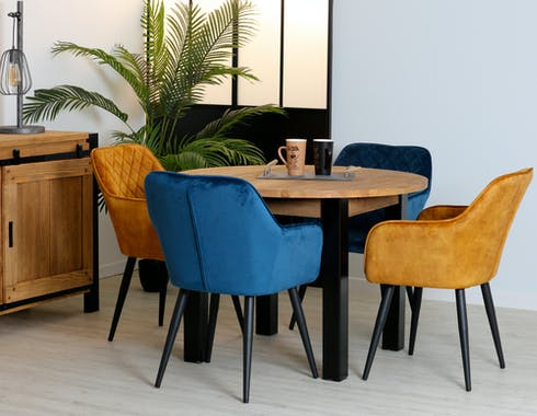 Table de repas ronde en bois pieds metal style industriel