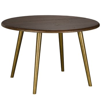 Table à manger ronde bois recyclé brun 120 cm QUEENSTOWN