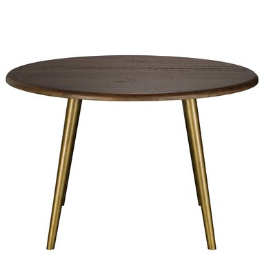 Table a manger ronde bois brun recycle FSC style contemporain
