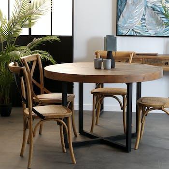 Table de repas ronde bois recycle FSC metal style inductriel
