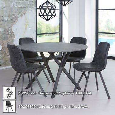 Table de repas ronde effet beton pieds metal style contemporain