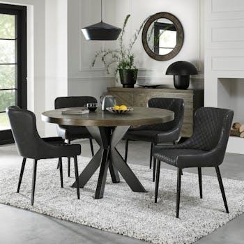 Table à manger ronde en marqueterie de chêne 120 cm ARLINGTON