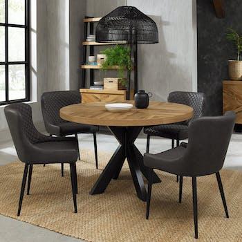 Table à manger ronde en marqueterie de chêne 120 cm finition bois naturel ARLINGTON 2