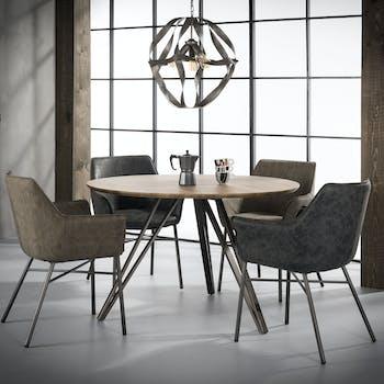 Table de repas ronde pieds metal de style contemporain