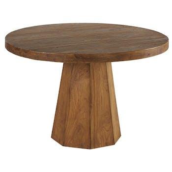 Table de repas ronde en bois pied central