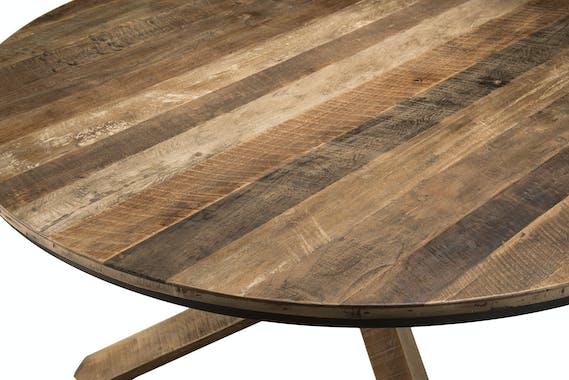 Table ronde en bois recycle pied central style contemporain