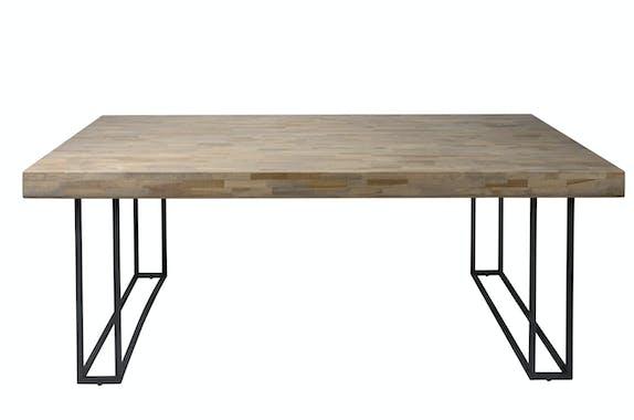 Table de repas bois recycle pieds metal de style contemporain