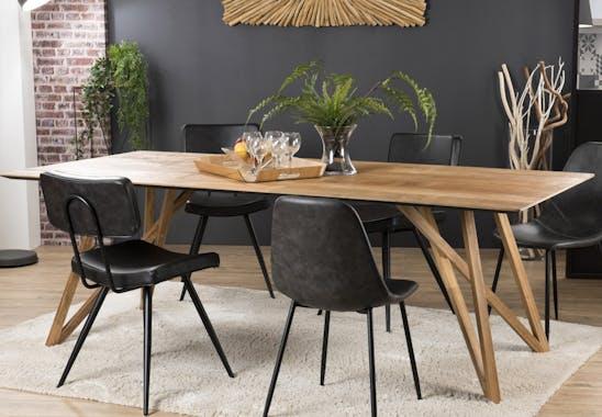 Table de repas en bois recycle pieds epingles style contemporain