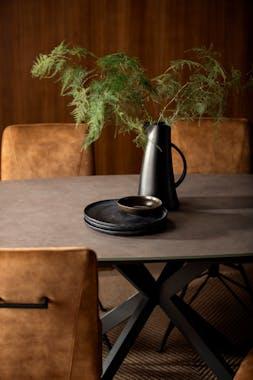 Table de repas style moderne verre et metal pied mikado