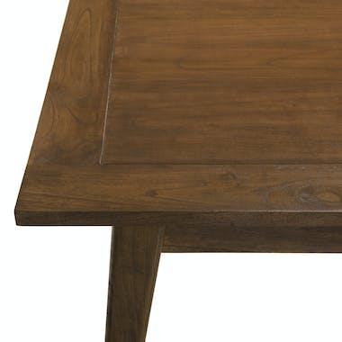 Table de repas extensible style vintage bois exotique rallonge centrale