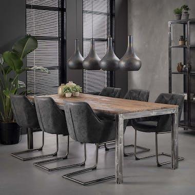 Table de repas en bois recycle pieds metal style industriel