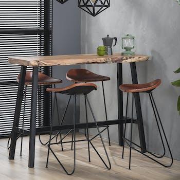 Table haute mange debout en bois massif naturel et metal style contemporain