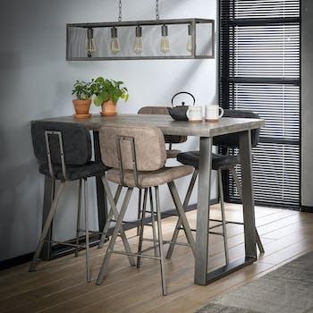 Table haute mange debout en bois massif gris style industriel pied metal