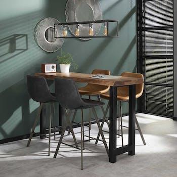 Table haute mange debout en bois massif style contemporain pied metal
