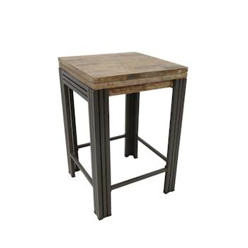 Table bar / Mange debout carrée extensible hévéa recyclé blanchi et métal noirci 70/140X70X105cm DOCKER