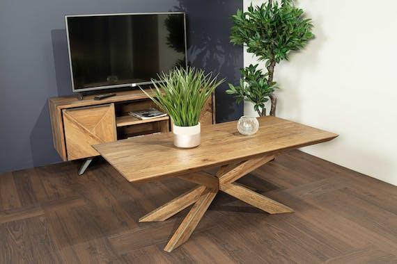 Table basse moderne en chêne 120 cm MANHATTAN