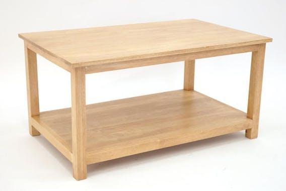Table basse 2 niveaux hévéa L80xP50xH40cm TRADITION