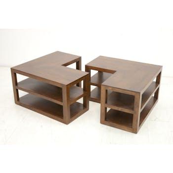 Table basse 2 parties hévéa 105x70cm HELENA