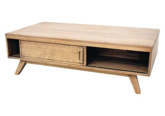 Table basse 2 portes coulissantes hévéa 120 cm SIXTIES