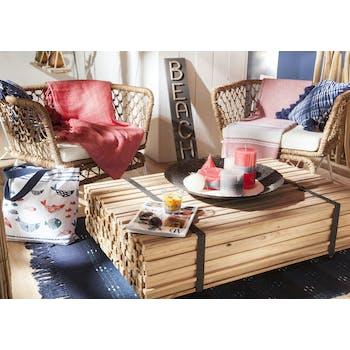 Table basse rectangulaire en bois et metal avec roulettes de style industriel