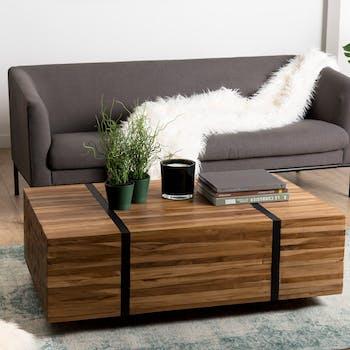 Table basse en bois recycle avec roulettes de style contremporain