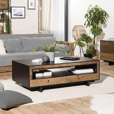Table basse avec rangement bois recyclé pin CRACOVIE