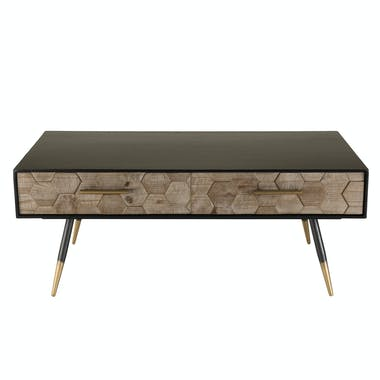 Table basse rectangulaire en bois pieds metal de style vintage