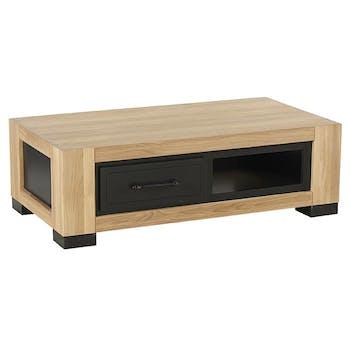 Table basse rectangulaire en bois avec porte clair de style contemporain