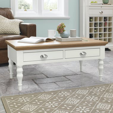 Table basse blanche 2 tiroirs PORTSMOUTH