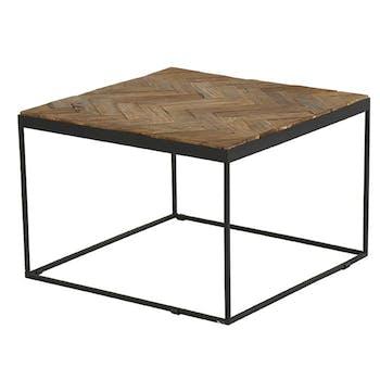 Table basse carree en bois et metal noir de style exotique