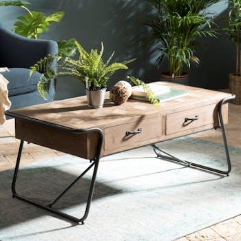 Table basse rectangulaire en bois pieds metal de style industriel