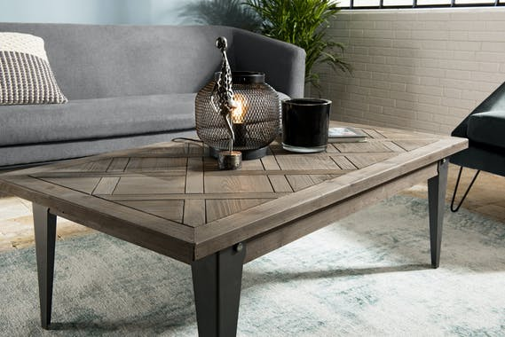 Table basse rectangulaure en bois pieds metal de stule vintage