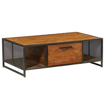 Table basse bois de teck recyclé métal OSHAWA
