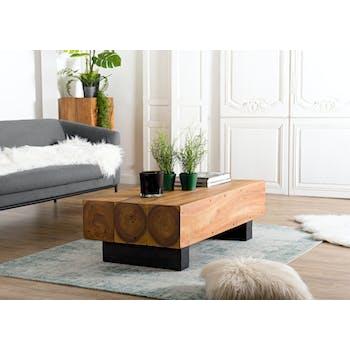 Table basse en bois facon tronc arbre de style exotique