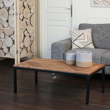Table basse bois recyclé motif chevron 110 cm MALANG