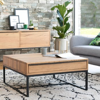 Table basse carrée 2 tiroirs VOLGA